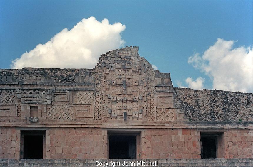 Facade of the Nunnery Quadrangle at the Maya ruins of Uxmal, Yucatan, Mexico