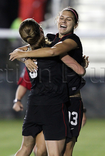 18.05.2011 Heather O'Reilly (USA) celebrates scoring the second goal with Alex Morgan (13) (USA). The United States Women's National Team defeated the Japan Women's National Team 2-0 at WakeMed Stadium in Cary, North Carolina as part of preparations for the 2011 Women's World Cup.