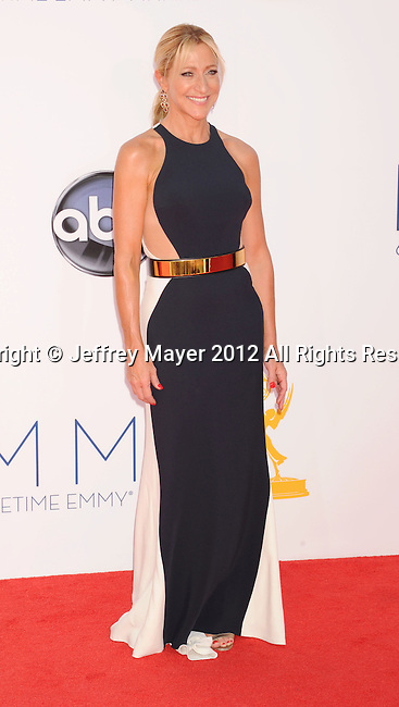 LOS ANGELES, CA - SEPTEMBER 23: Edie Falco arrives at the 64th Primetime Emmy Awards at Nokia Theatre L.A. Live on September 23, 2012 in Los Angeles, California.