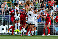 Boyds, MD. - Saturday, June 24 2017:  Christine Sinclair, Tori Huster during a regular season National Women's Soccer League (NWSL) match between the Washington Spirit and the Portland Thorns FC at Maureen Hendricks Field, Maryland SoccerPlex.<br />  The Washington Spirit defeated the Portland Thorns FC 1-0.