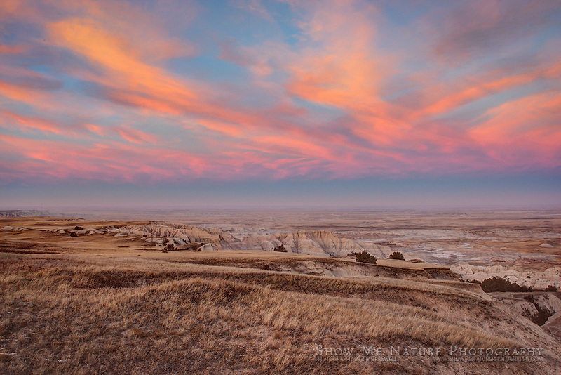An HDR post-sunset photograph of colors in the sky in the Badlands NP, South Dakota
