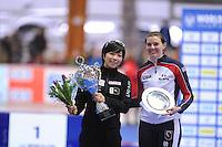 SCHAATSEN: ERFURT: Gunda Niemann Stirnemann Eishalle, 22-03-2015, ISU World Cup Final 2014/2015, Final Podium 500m Ladies, Nao Kodaira (JPN), Heather Richardson (USA), ©foto Martin de Jong