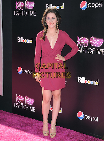 "Shannon Woodward.""Katy Perry: Part Of Me"" Los Angeles Premiere held at Grauman's Chinese Theatre, Hollywood, California, USA..June 26th, 2012.full length red dress hand on hip pink wrap.CAP/RKE/DVS.©DVS/RockinExposures/Capital Pictures."