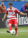 FC Dallas defender Zach Loyd (17) in action during the game between the FC Dallas and the Houston Dynamo at the FC Dallas Stadium in Frisco,Texas.