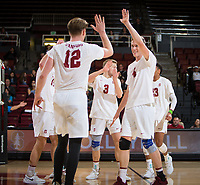 STANFORD, CA - January 17, 2019: Jordan Ewert, Paul Bischoff, Eric Beatty at Maples Pavilion. The Stanford Cardinal defeated UC Irvine 27-25, 17-25, 25-22, and 27-25.