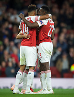 Celeb rations after Pierre-Emerick Aubameyang of Arsenal scores his second goal  during the UEFA Europa League match group between Arsenal and Vorskla Poltava at the Emirates Stadium, London, England on 20 September 2018. Photo by Andrew Aleks / PRiME Media Images.