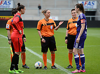 20170513 - MECHELEN , BELGIUM : Belgian referees Berengere Pierart , Hannelore Onsea and  Ella De Vries pictured with captains Nicky Evrard (left) and Heleen Jaques (r) during the final of Belgian cup 2017 , a womensoccer game between RSC Anderlecht and KAA Gent Ladies , in the AFAS stadion in Mechelen , saturday 13 th Mayl 2017 . PHOTO SPORTPIX.BE | BELGA |  DAVID CATRY