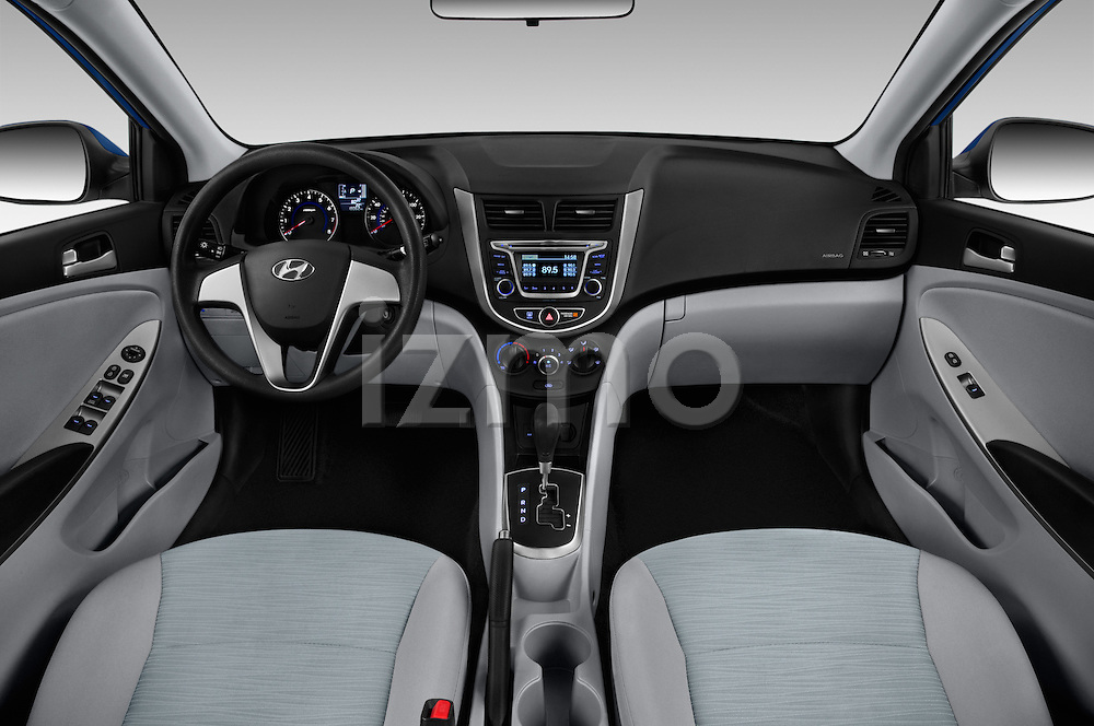Stock photo of straight dashboard view of 2016 Hyundai Accent SE 4-Door 6-Speed Automatic 4 Door Sedan Dashboard