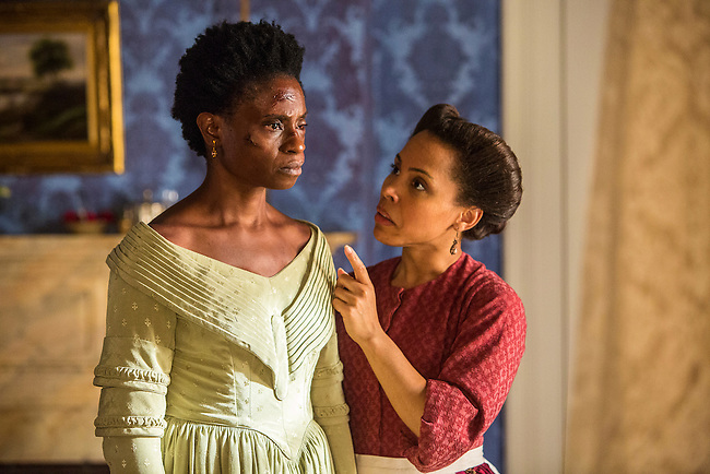 "Adina Porter as Pearly Mae and Amirah Vann as Ernestine in WGN America's ""Underground."""