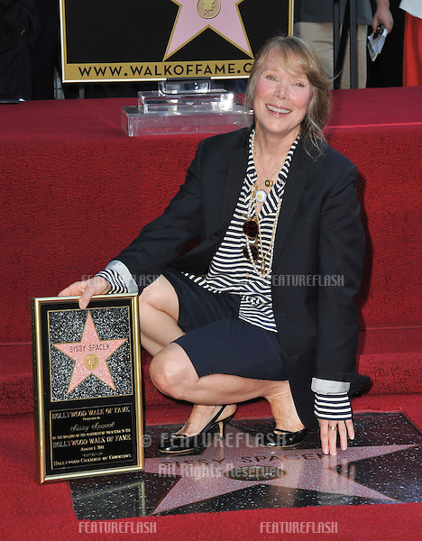 Sissy Spacek on Hollywood Boulevard where she was honored with the 2,443rd star on the Hollywood Walk of Fame..August 1, 2011  Los Angeles, CA.Picture: Paul Smith / Featureflash