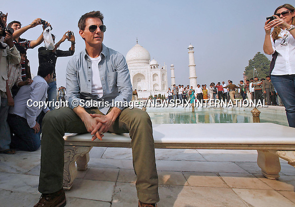 "TOM CRUISE.becomes as much a sight as the famous Taj Mahal built by the Mughal Emperor Shah Jahan in memory of his third wife, Mumtaz Mahal..Cruise was fufilling a lifetime wish when he visited the monument in Agra, prior to his promotion of his latest movie Mission Impossible 4_Agra, India_03/12/2011.Mandatory Photo Credit: ©Solaris Images/NEWSPIX INTERNATIONAL..**ALL FEES PAYABLE TO: ""NEWSPIX INTERNATIONAL""**..PHOTO CREDIT MANDATORY!!: NEWSPIX INTERNATIONAL(Failure to credit will incur a surcharge of 100% of reproduction fees)..IMMEDIATE CONFIRMATION OF USAGE REQUIRED:.Newspix International, 31 Chinnery Hill, Bishop's Stortford, ENGLAND CM23 3PS.Tel:+441279 324672  ; Fax: +441279656877.Mobile:  0777568 1153.e-mail: info@newspixinternational.co.uk"