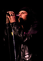 Montreal (Qc) CANADA - File Photo - Circa 1986-<br /> Ian Ashbury , lead singer of THE CULT in concert at Montreal's Forum.<br /> <br /> -Photo (c)  Images Distribution