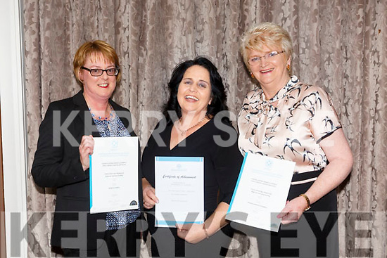 At the Kerry ETB  Graduations in the rose Hotel on Thursday were Professional Tour Guiding l-r Mairead Carroll, Margaret O'Connor and Patricia O'Donnell