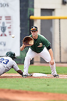 Clinton LumberKings first baseman Jeff Zimmerman (32) takes a throw as B.J. Boyd (23) dives back to first during a game against the Beloit Snappers on August 17, 2014 at Ashford University Field in Clinton, Iowa.  Clinton defeated Beloit 4-3.  (Mike Janes/Four Seam Images)