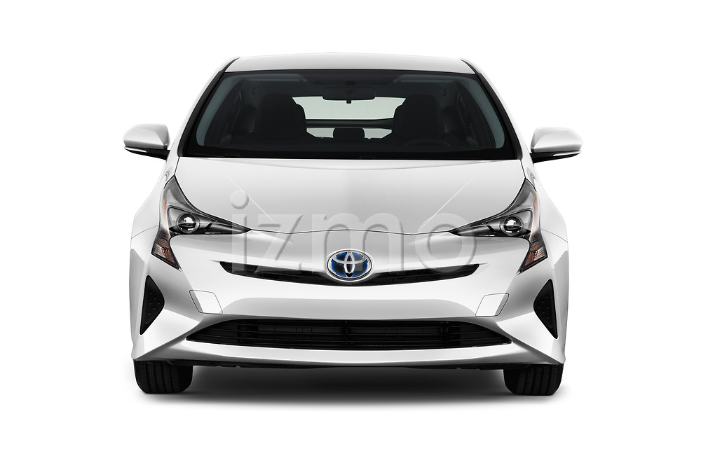 Car photography straight front view of a 2018 Toyota Prius Two 5 Door Hatchback Front View