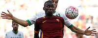 Calcio, Serie A: Roma vs Sassuolo. Roma, stadio Olimpico, 20 settembre 2015.<br /> Roma&rsquo;s Antonio Ruediger eyes the ball during the Italian Serie A football match between Roma and Sassuolo at Rome's Olympic stadium, 20 September 2015.<br /> UPDATE IMAGES PRESS/Isabella Bonotto