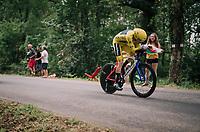 Geraint Thomas (GBR/SKY) easely retains yellow and will thus win his very first grand tour! <br /> <br /> Stage 20 (ITT): Saint-P&eacute;e-sur-Nivelle &gt;  Espelette (31km)<br /> <br /> 105th Tour de France 2018<br /> &copy;kramon