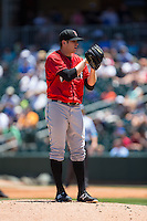 Indianapolis Indians starting pitcher Casey Sadler (45) looks to his catcher for the sign against the Charlotte Knights at BB&T BallPark on June 21, 2015 in Charlotte, North Carolina.  The Knights defeated the Indians 13-1.  (Brian Westerholt/Four Seam Images)