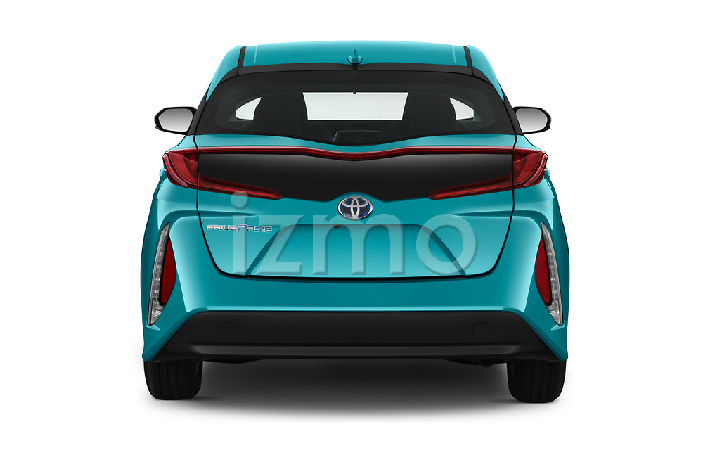 Straight rear view of 2019 Toyota Prius-Prime Plus 5 Door Hatchback Rear View  stock images