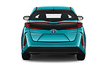 Straight rear view of 2018 Toyota Prius-Prime Plus 5 Door Hatchback Rear View  stock images