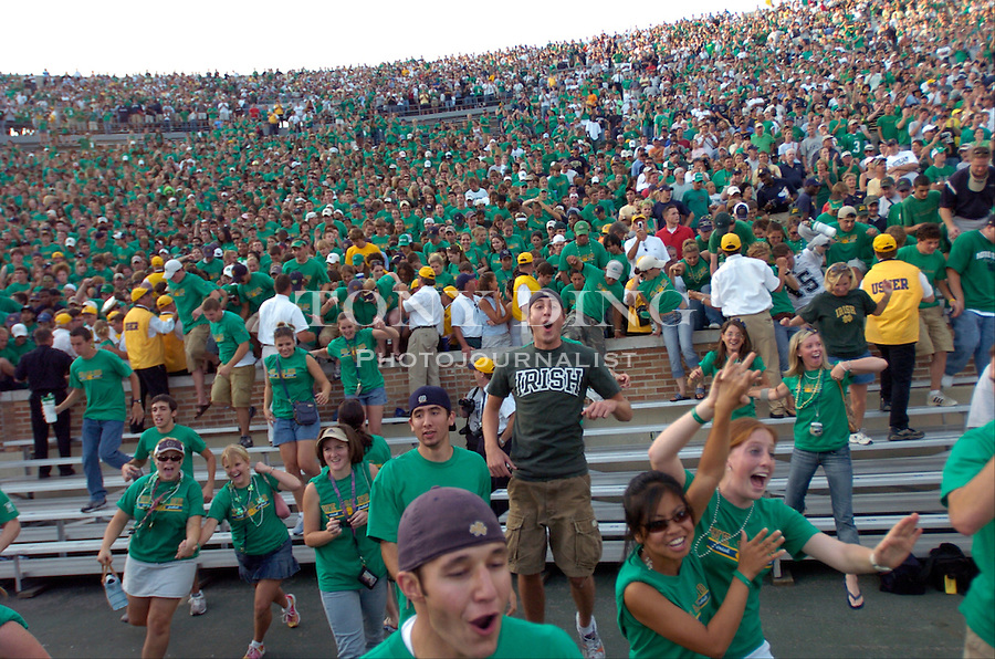 Irish players and fans spilled onto the field to celebrate after the Wolverines' 28-20 loss to Notre Dame on Saturday, September 11, 2004 at Notre Dame Stadium in South Bend, Indiana. (Photo by TONY DING/Daily).