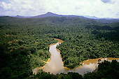 Roraima State, Brazil. Winding Amazon region river - Mucajai River, tributary of the Rio Branco, which feeds the Amazon.