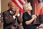 Harry Belafonte and Tina Brown on stage, at the John Jay Justice Award ceremony, April 5 2011.