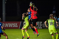 Kansas City, MO - Saturday June 17, 2017: Rebekah Stott, Sydney Leroux, Haley Kopmeyer during a regular season National Women's Soccer League (NWSL) match between FC Kansas City and the Seattle Reign FC at Children's Mercy Victory Field.