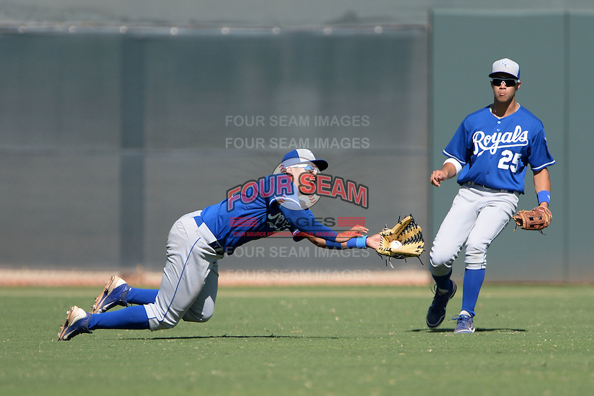 Kansas City Royals outfielder Samir Duenez (34) makes a diving catch as Amalani Fukofuka (25) looks on during an instructional league game against the Seattle Mariners on October 2, 2013 at Surprise Stadium Training Complex in Surprise, Arizona.  (Mike Janes/Four Seam Images)