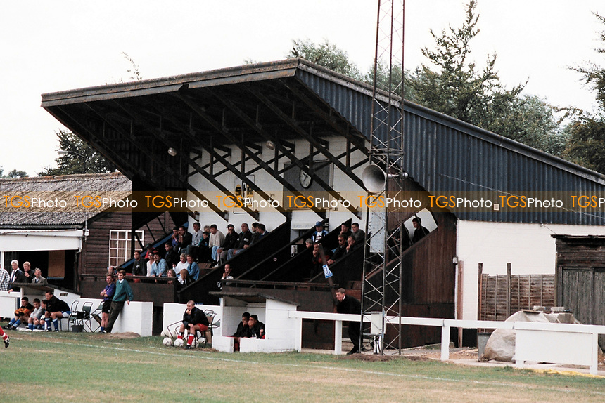 The main stand at Bury Town FC Football Ground, Ram Meadow, Bury St Edmunds, Suffolk, pictured on 28th August 1995
