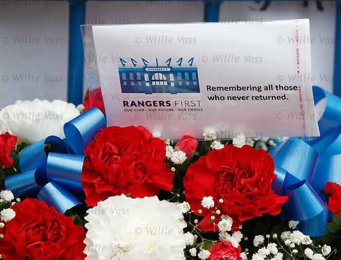 Tributes left at the remembrance service to the victims of the Ibrox disasters