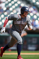 Lehigh Valley IronPigs left fielder Cody Asche (31) runs to first base during a game against the Buffalo Bisons on August 28, 2016 at Coca-Cola Field in Buffalo, New York.  Lehigh Valley defeated Buffalo 5-2.  (Mike Janes/Four Seam Images)