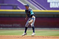 Lynchburg Hillcats shortstop Tyler Freeman (2) on defense against the Winston-Salem Rayados at BB&T Ballpark on June 23, 2019 in Winston-Salem, North Carolina. The Hillcats defeated the Rayados 12-9 in 11 innings. (Brian Westerholt/Four Seam Images)