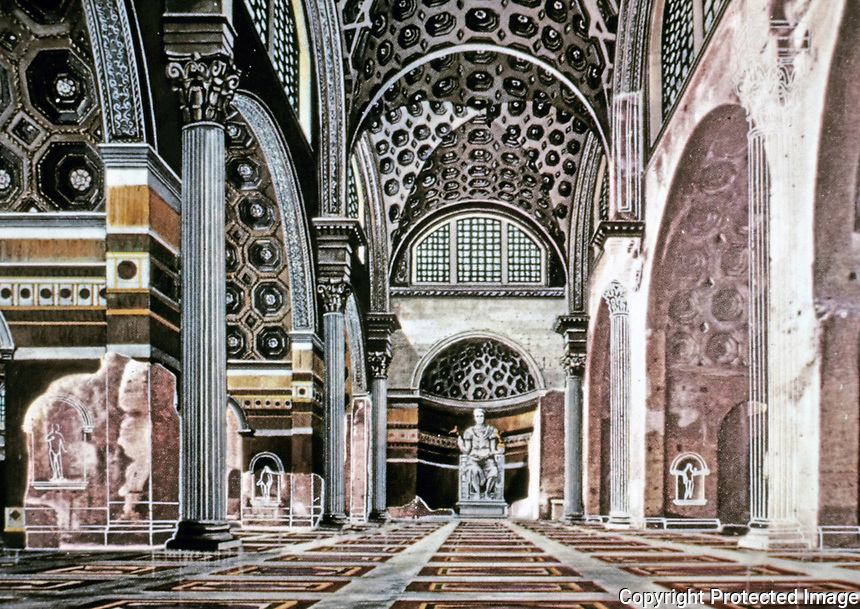 Artists depiction of interior of The Basilica of Maxentius and Constantine, Roman Forum, Rome Italy, 312 BCE