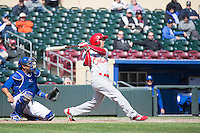 Rafael Ortega (3) of the Memphis Redbirds at bat against the Omaha Storm Chasers in Pacific Coast League action at Werner Park on April 22, 2015 in Papillion, Nebraska.  (Stephen Smith/Four Seam Images)