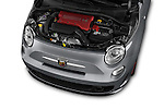 Car Stock 2016 Fiat 500c Abarth-Cabrio 2 Door Convertible Engine  high angle detail view