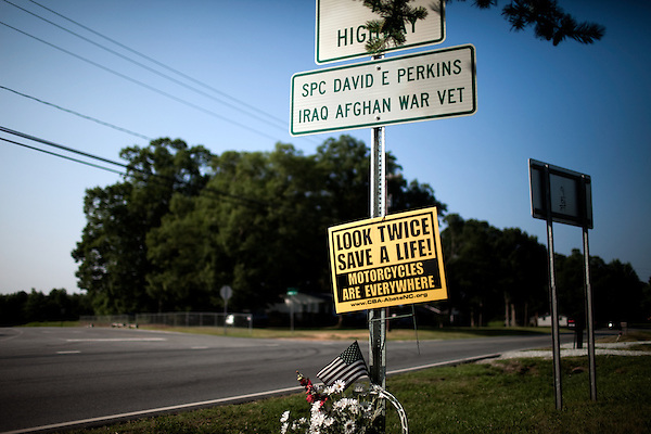 June 27, 2009. Kernersville, NC..A roadside memorial to Spc. David E. Perkins.
