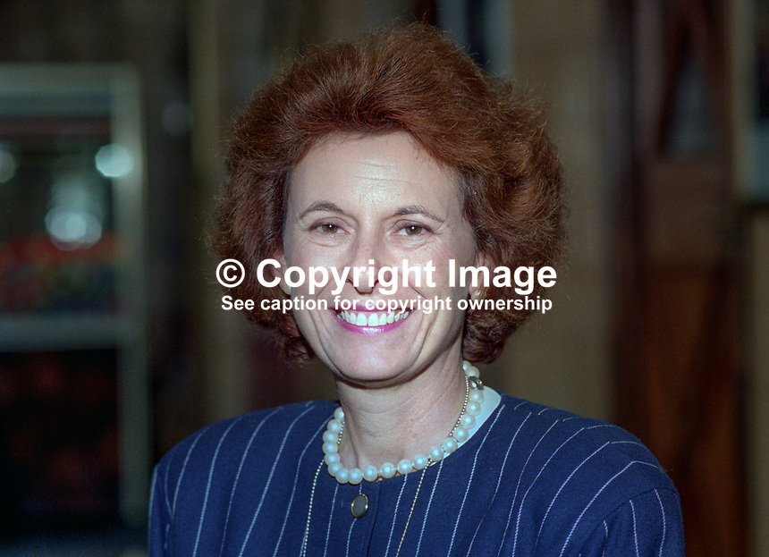 Lady Olga Maitland, journalist, politician, Conservative Party, UK, October, 1993, 1993100301115<br /> <br /> Copyright Image from Victor Patterson, 54 Dorchester Park, <br /> Belfast, UK, BT9 6RJ<br /> <br /> t1: +44 28 9066 1296 (from Rep of Ireland 048 9066 1296)<br /> t2: +44 28 9002 2446 (from Rep of Ireland 048 9002 2446)<br /> m: +44 7802 353836<br /> <br /> e1: victorpatterson@me.com<br /> e2: victorpatterson@gmail.com<br /> <br /> www.victorpatterson.com<br /> <br /> Please see my Terms and Conditions of Use at VICTORPATTERSON.COM. It is IMPORTANT that you familiarise yourself with them.<br /> <br /> Images used on the Internet must be visibly watermarked i.e. &copy;VICTORPATTERSON.COM within the body of the image and copyright metadata must not be deleted. Images used on the Internet have a size restriction of 4kbs and are chargeable at the then current NUJ rates.<br /> <br /> This image is only available for the use of the download recipient i.e. television station, newspaper, magazine, book publisher, etc, and must not be passed on to any third party. It is also downloaded on condition that each and every usage is notified within 7 days to victorpatterson@me.com<br /> <br /> The right of Victor Patterson to be identified as the author is asserted in accordance with The Copyright Designs And Patents Act (1988).