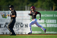 Batavia Muckdogs designated hitter Branden Berry (35) running the bases as umpire John Budka watches the play during a game against the Hudson Valley Renegades on August 2, 2016 at Dwyer Stadium in Batavia, New York.  Batavia defeated Hudson Valley 2-1. (Mike Janes/Four Seam Images)