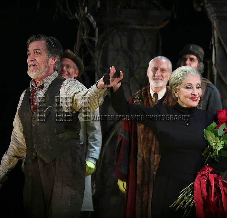 Roger Rees and Chita Rivera during the Broadway Opening Night Performance Curtain Call for 'The Visit'  at the Lyceum Theatre on April 23, 2015 in New York City.