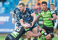 Picture by Allan McKenzie/SWpix.com - 11/05/2017 - Rugby League - Ladbrokes Challenge Cup - Featherstone Rovers v Halifax RLFC - The LD Nutrition Stadium, Featherstone, England  - James Lockwood offloads as he's tackles by Halifax's Elliot Morris & Scott Murrell.