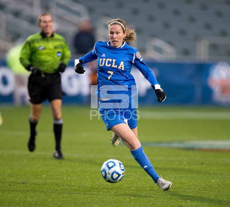 Jenna Richmond (7) of UCLA brings the ball forward during the NCAA Women's College Cup finals at WakeMed Soccer Park in Cary, NC.  UCLA defeated Florida State, 1-0, in overtime.