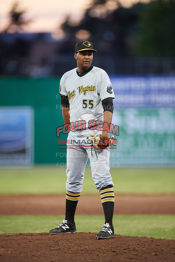 West Virginia Black Bears relief pitcher Miguel Hernandez (55) looks in for the sign during a game against the Batavia Muckdogs on June 20, 2018 at Dwyer Stadium in Batavia, New York.  West Virginia defeated Batavia 4-3.  (Mike Janes/Four Seam Images)