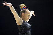 22nd March 2018, Arena Birmingham, Birmingham, England; Gymnastics World Cup, day two, womens competition; Amy Tinkler (GBR) warming up before the competition