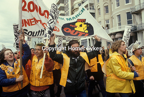 The People's March for Jobs Right To Work march. Brighton 1981. Protesters outside the conference centre where the Conservative Party Conference is taking place.