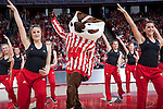March 3, 2010: Wisconsin Badgers mascot Bucky Badger performs with the dance team during a Big Ten Conference NCAA basketball game against the Iowa Hawkeyes at the Kohl Center on March 3, 2010 in Madison, Wisconsin. The Badgers won 67-40. (Photo by David Stluka)