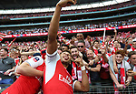 Alex Oxlade-Chamberlain of Arsenal takes a selfie with the fan during the Emirates FA Cup Final match at Wembley Stadium, London. Picture date: May 27th, 2017.Picture credit should read: David Klein/Sportimage