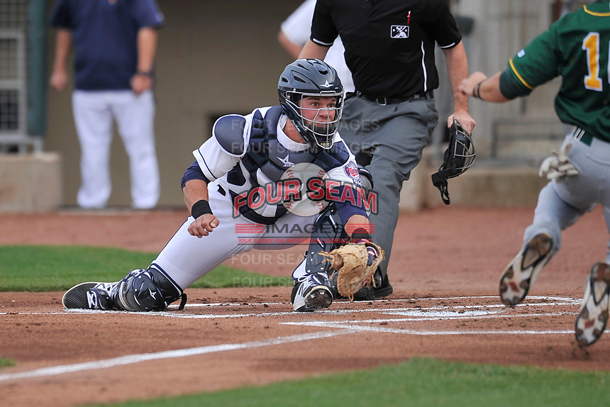 Cedar Rapids Kernels catcher Ben Rortvedt (9) in action during a game against the Beloit Snappers at Veterans Memorial Stadium on April 8, 2017 in Cedar Rapids, Iowa.  The Snappers won 7-6.  (Dennis Hubbard/Four Seam Images)