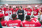 Wisconsin Badgers defensive coordinator Jim Leonhard talks to his unit during an NCAA College Big Ten Conference football game against the Purdue Boilermakers Saturday, October 14, 2017, in Madison, Wis. The Badgers won 17-9. (Photo by David Stluka)
