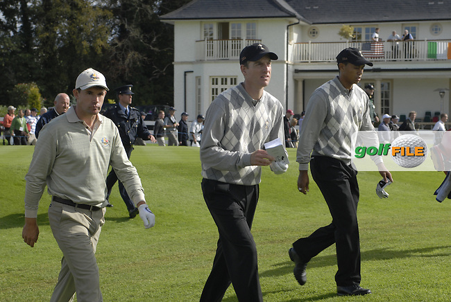 Padraig Harrington, Jim Furyk and Tiger Woods Walk down the 15th fairway during the Morning Fourball on Day1 of the 2006 Ryder Cup at The K Club 21st September 2006.(Photo Eoin Clarke/Newsfile)